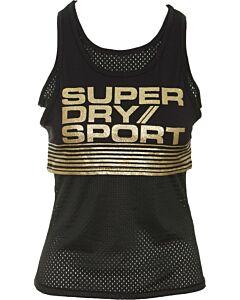 SUPERDRY - Bolt sport vest - Zwart-Geel