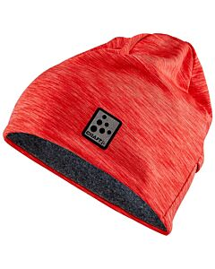 CRAFT - Microfleece ponytail hat - rood combi