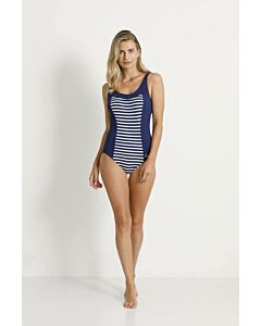 TWEKA - pool swimsuit soft cup - Blauwdonker-Wit